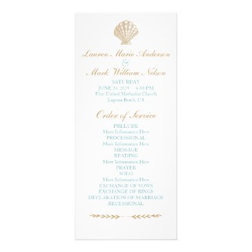 Beach Themed Seashells Nautical Beach Wedding Tan/Aqua Program