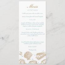 Seashells Nautical Tan/Aqua Beach Wedding Menu