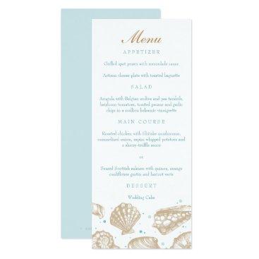 Beach Themed Seashells Nautical Tan/Aqua Beach Wedding Menu Card