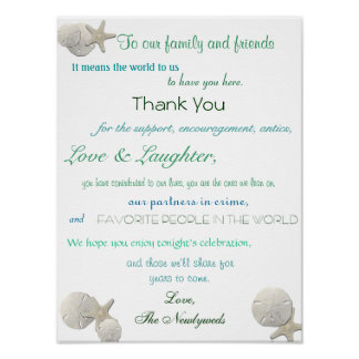 Seashells, Nautical Wedding Reception, Thank You Poster