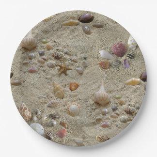 Seashells Nestled in Beach Sand Paper Plate