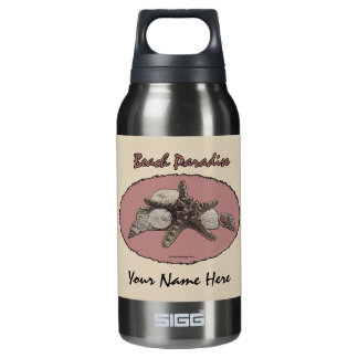 Seashells on a Beach Pink Oval Insulated Water Bottle