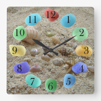 Seashells on Beach Sand with Sea Glass Square Wall Clock
