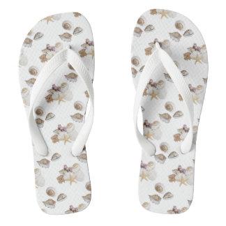 Seashells on flip flops