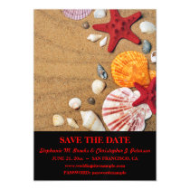 Seashells on Sand Save the Date w/ Website Magnetic Card