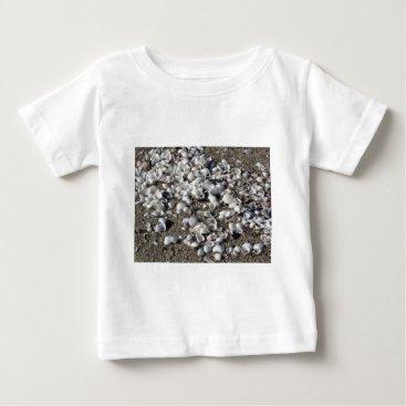 Beach Themed Seashells on sand. Summer beach background Baby T-Shirt