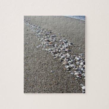 Beach Themed Seashells on sand. Summer beach background Jigsaw Puzzle