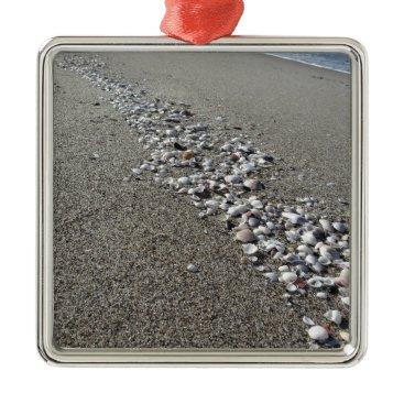 Beach Themed Seashells on sand. Summer beach background Metal Ornament