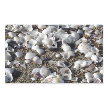 Beach Themed Seashells on sand. Summer beach background Rectangular Sticker