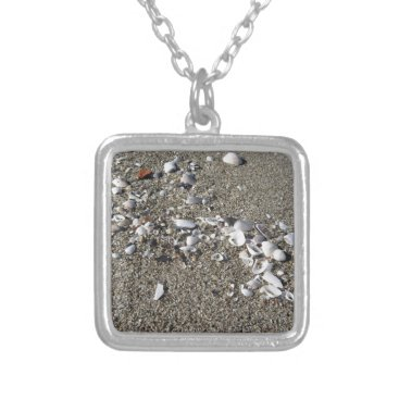 Beach Themed Seashells on sand. Summer beach background Silver Plated Necklace