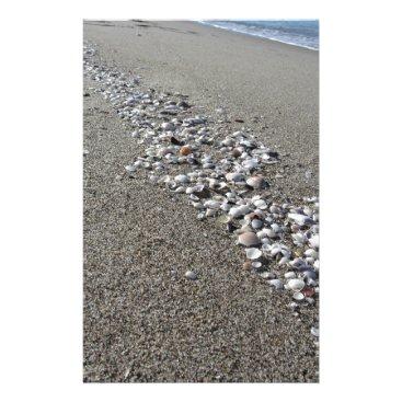 Beach Themed Seashells on sand. Summer beach background Stationery