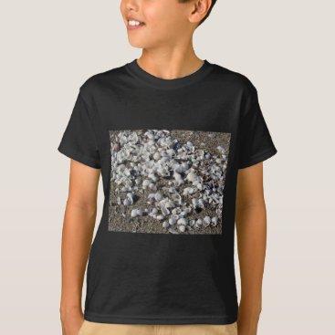 Beach Themed Seashells on sand. Summer beach background T-Shirt