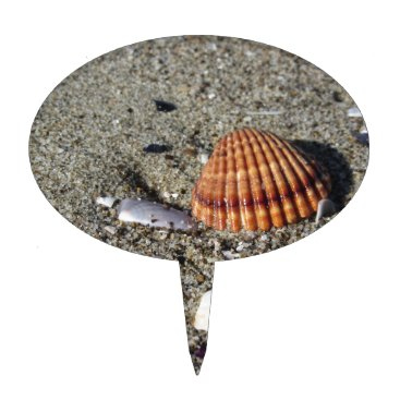 Beach Themed Seashells on sand Summer beach background Top view Cake Topper