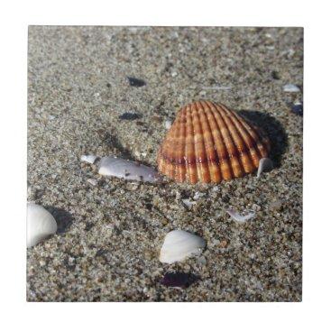 Beach Themed Seashells on sand Summer beach background Top view Ceramic Tile