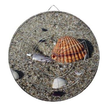 Beach Themed Seashells on sand Summer beach background Top view Dartboard