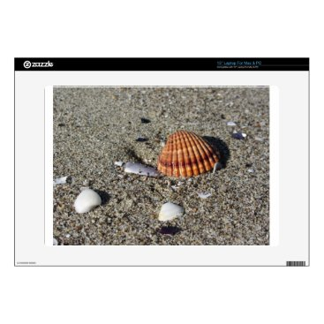 """Beach Themed Seashells on sand Summer beach background Top view Decals For 15"""" Laptops"""