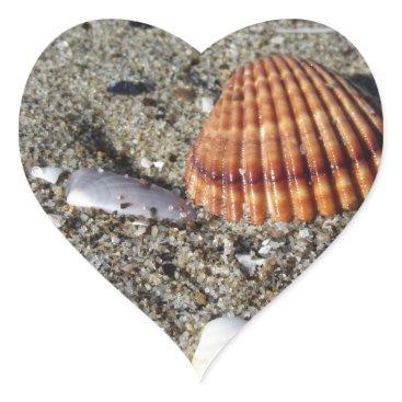 Beach Themed Seashells on sand Summer beach background Top view Heart Sticker
