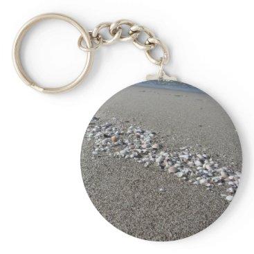 Beach Themed Seashells on sand Summer beach background Top view Keychain