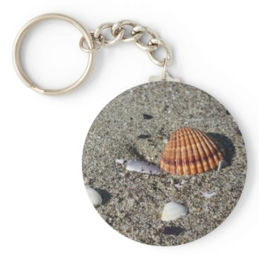 Beach Themed Seashells on sand Summer beach background Top view Keychain