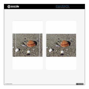 Beach Themed Seashells on sand Summer beach background Top view Kindle Fire Skins