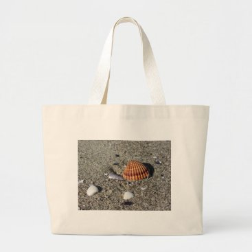 Beach Themed Seashells on sand Summer beach background Top view Large Tote Bag