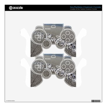 Beach Themed Seashells on sand Summer beach background Top view PS3 Controller Decals