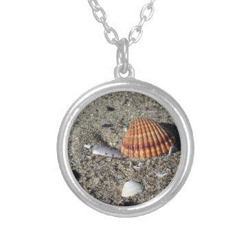 Beach Themed Seashells on sand Summer beach background Top view Silver Plated Necklace