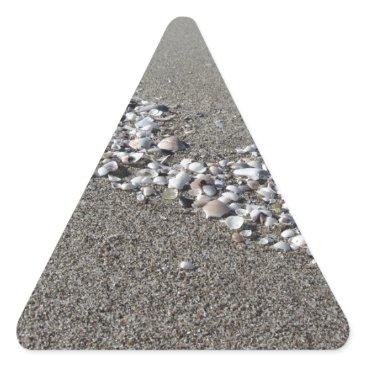 Beach Themed Seashells on sand Summer beach background Top view Triangle Sticker