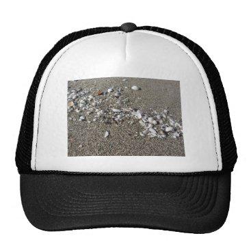 Beach Themed Seashells on sand. Summer beach background Trucker Hat
