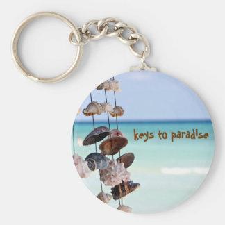 seashells on sea background basic round button keychain