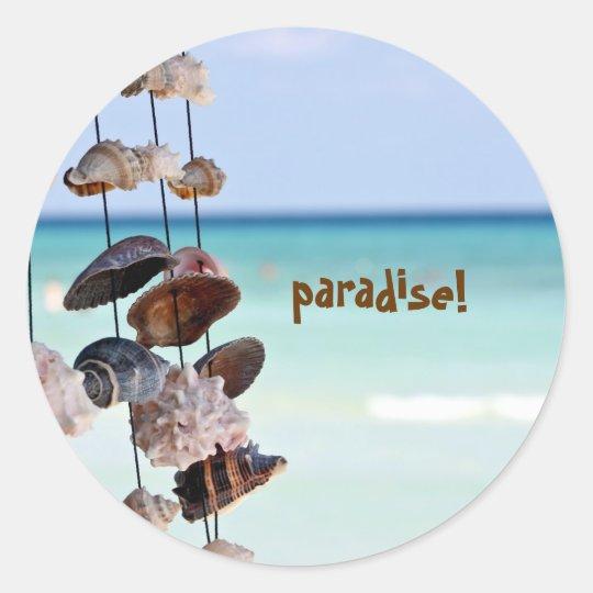 seashells on sea background classic round sticker