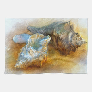 Seashells on the beach towel