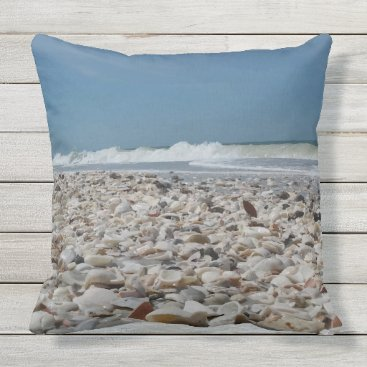 Beach Themed Seashells on the Beach Throw Pillow