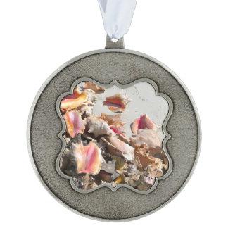 Seashells on the Beach   Turks and Caicos Photo Scalloped Ornament