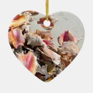Seashells on the Beach   Turks and Caicos Photo Christmas Ornament