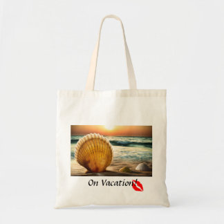 Seashells on the beach vacation kiss tote budget tote bag