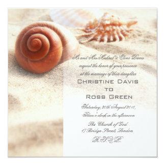 "Seashells on the sand wedding invitation 5.25"" square invitation card"