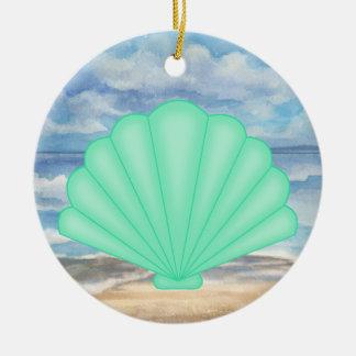 Seashells Double-Sided Ceramic Round Christmas Ornament