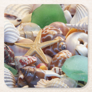 Seashells Paper Drink Coasters Square Paper Coaster
