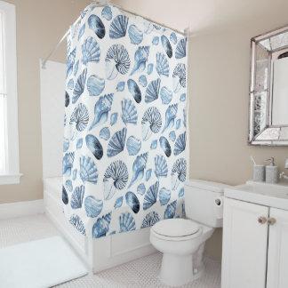 Seashells Pattern In Blue Beach House Shower Curtain