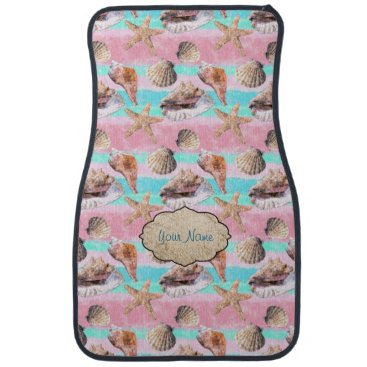 linda_mn Seashells Pink Turquoise Stripes Car Mat