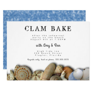 Seashells Rehearsal Dinner Clam Bake Invitatation Card