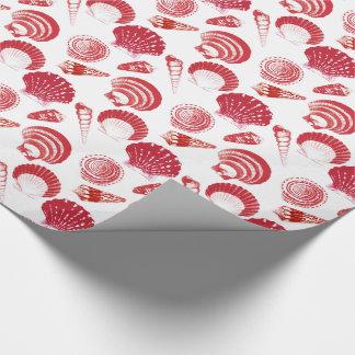Seashells - rojo del cinabrio en un fondo blanco papel de regalo