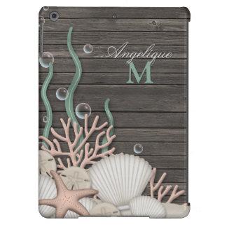 Seashells rústicos y caja personalizada madera del carcasa iPad air