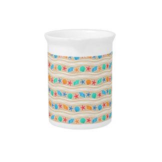 Seashells sand pattern beverage pitcher