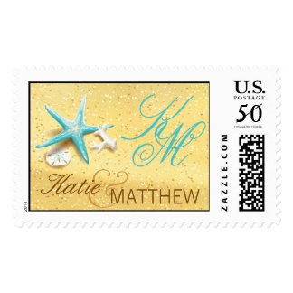 Seashells Sandy Beach Destination Wedding Postage