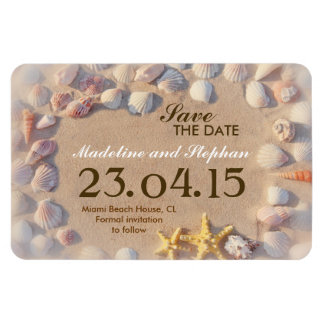 seashells save the date for beach wedding magnet