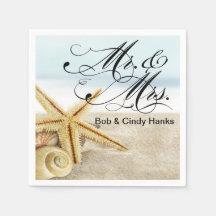 Seashells Sr. y señora de las estrellas de mar de Servilleta De Papel