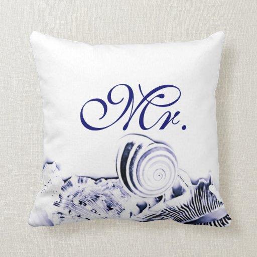 Seashells Sr. y señora Pillow Set de los azules Cojin