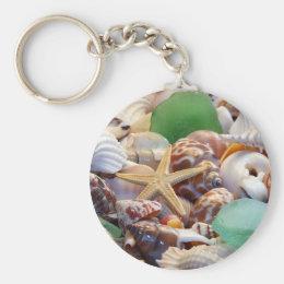 Seashells Starfish & Beach Glass Keychain